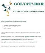 Táborhelyszínek Balatonlelle Hotel 300 gólyatábor